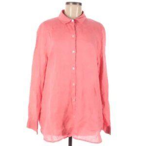 J. Jill Linen Pink Long Sleeve Button Down Shirt